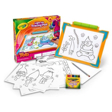 Crayola Trolls Light-Up Tracing Pad, Coloring Board for Kids, Gift, Toys for Girls, Ages 6, 7, 8,