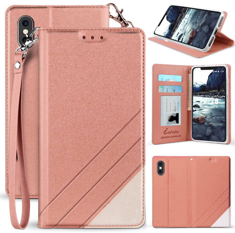 Cover for iPhone Xs Leather Card Holders Premium Business Kickstand Cell Phone Cover with Free Waterproof-Bag Absorbing iPhone Xs Flip Case