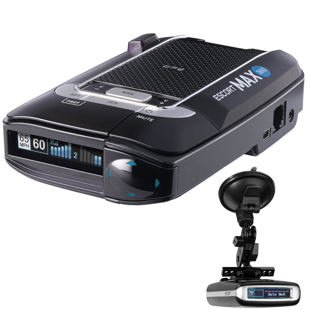 Escort Max 360 Radar Detector + RadarMount Suction Mount Bracket for Radar Detectors by Escort