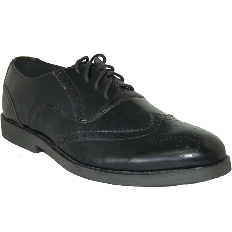 American Shoe Factory Wing Tip Black Leather Lined Upper Men Oxfords