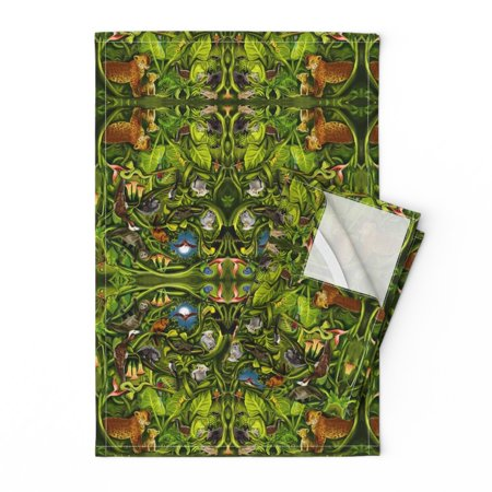 Jungle Amazon Jaguar Bat Sloth Frog Linen Cotton Tea Towels by Roostery Set of 2 ()