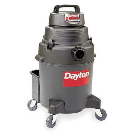 DAYTON Wet/Dry Vacuum, Commercial, 1-Gal Plastic Tank, 2. Peak HP