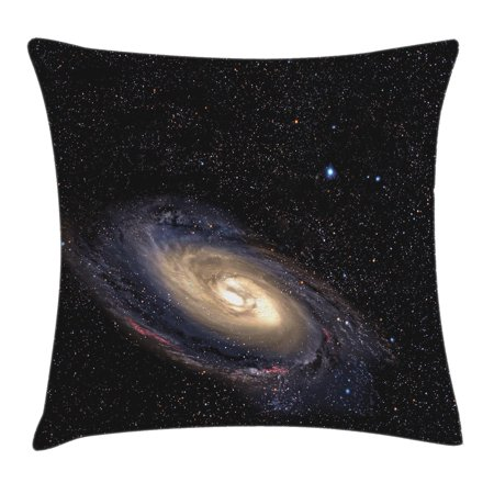 Galaxy Throw Pillow Cushion Cover, Spiral Universe in a Field of Stars Astronomy Theme Deep Outer Space Print, Decorative Square Accent Pillow Case, 18 X 18 Inches, Black Beige Purple, by Ambesonne