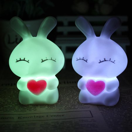Hifashion Romantic Colour Changing Love Rabbit Night Light LED Lamp Home Kids Room Decor HFON