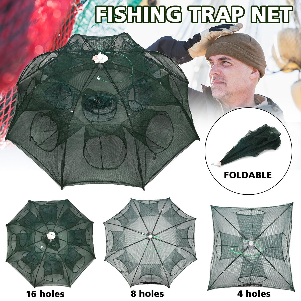 8Holes Full Automatic Fishing Net Shrimp Cage Nylon Foldable Crab Fish Trap Cast