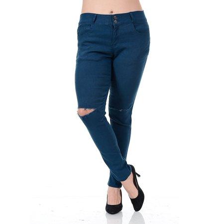 8e891eadccd1b WX Womens Plus Size Distressed Knee Hole Ripped Stretch Jeans Skinny Twill  Pants - Walmart.com