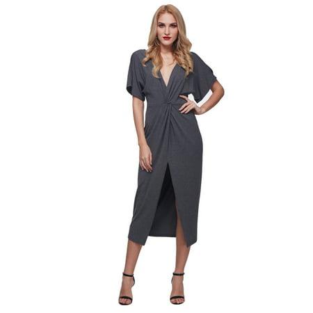 Gamiss women's Shoulder strapless V-neck back halter sexy dress