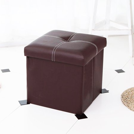 12'' Cube Ottoman Pouffe Storage Box Lounge Seat Footstools, Stool Seat and Foot Rest, Collapsible, Versatile Storage Box Faux Leather, Black/Brown ()