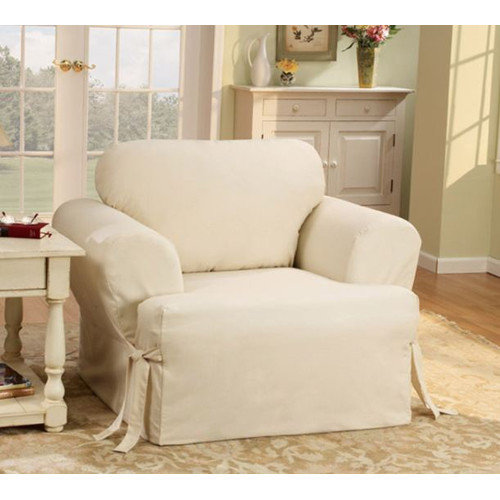 Sure Fit Cotton Duck T-Cushion Slipcover for Chair in Natural