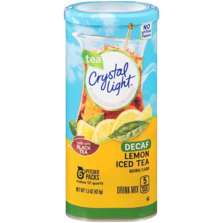 (6 Pack) Crystal Light Decaffeinated Lemon Iced Tea Drink Mix, 5 count Canister