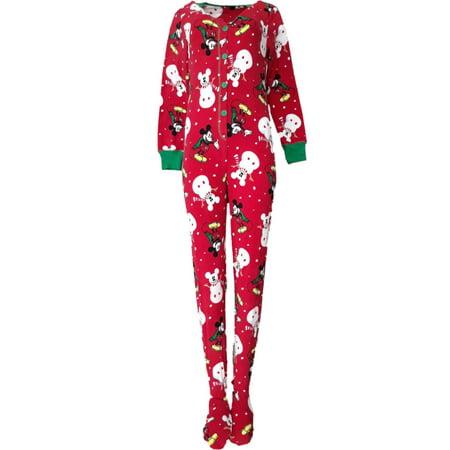 Womens Disney Mickey Mouse Union Suit Christmas Blanket Sleeper Pajama