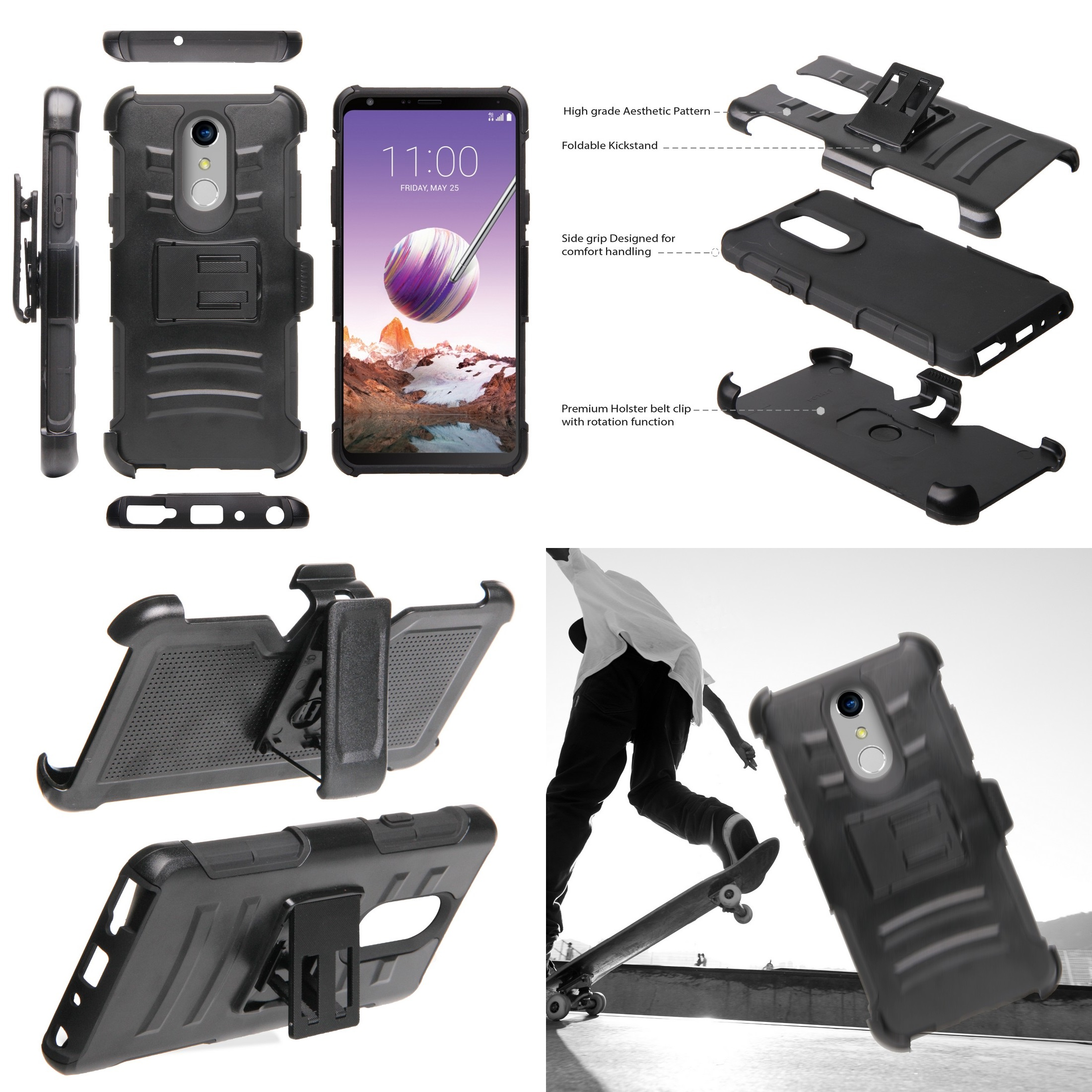 Dual Layer Heavy Duty Armor Kickstand Holster Rugged Case Atom Cloth for LG Stylo 4+ Plus//LG Stylo 4 with Bubble-Free Tempered Glass Screen Protector 2018 American Skull Flag