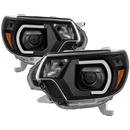 Xtune 9037542 Headlight Assembly  Projector Beam With Bar Style Daytime Running Light; Black Housing; Clear Lens; Uses Stock Bulb; Set Of 2 - image 1 of 1