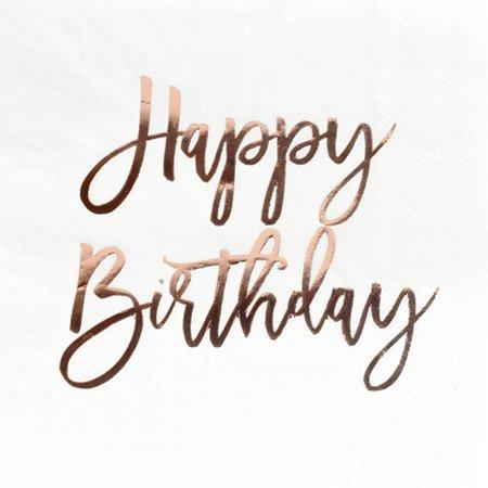 Andaz Press Rose Gold Foil Lunch Napkins 6.5-Inch, Happy Birthday, 50 PK, Shiny Metallic Party Supplies Tableware Decor (50 Birthday Napkins)