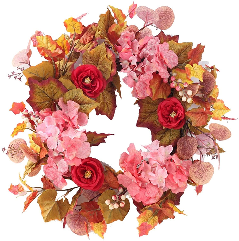 50cm Fall Wreath Artificial Wreath Maple Leaf Hanging Silk Garland Ideal For Thanksgiving Home Decor Walmart Canada