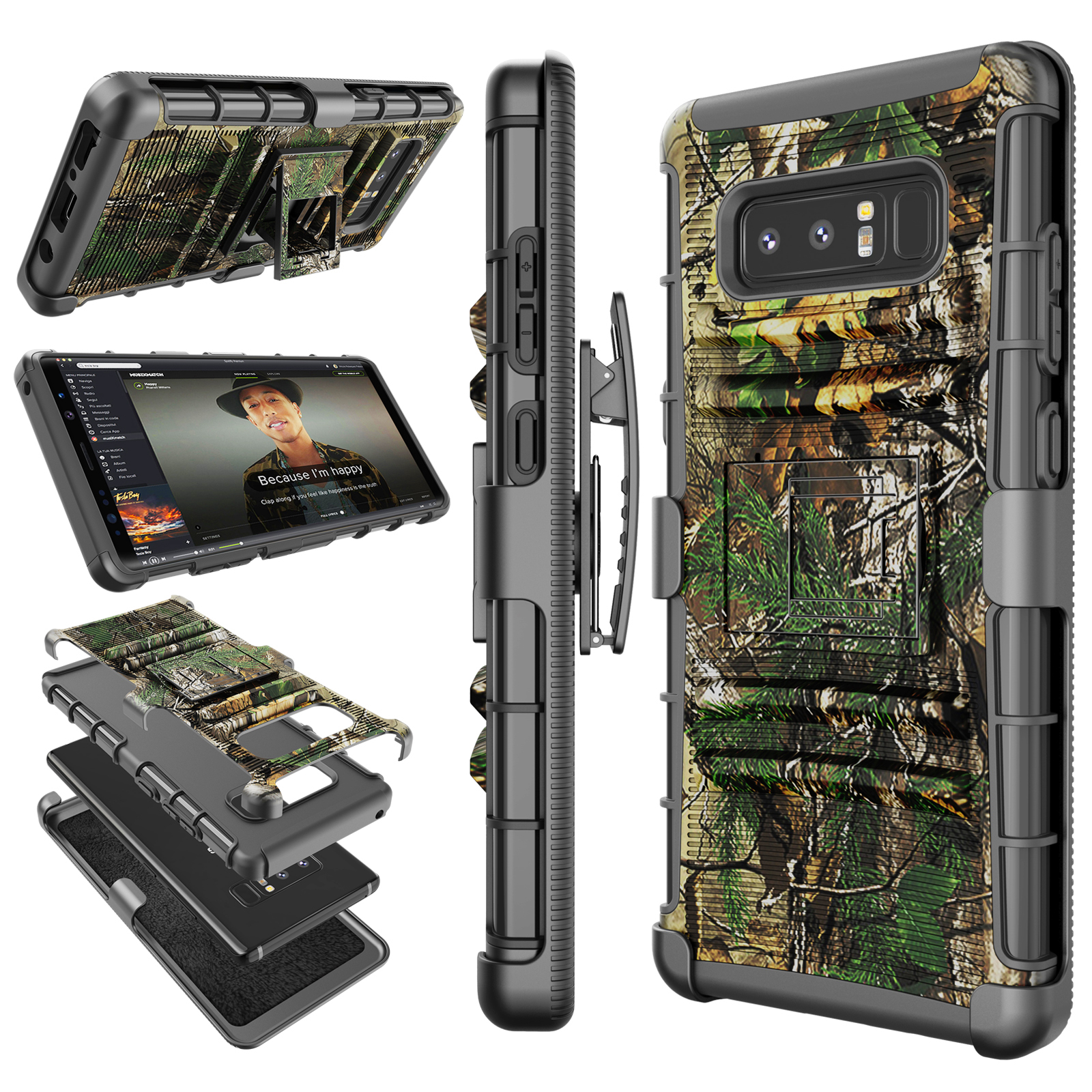 Galaxy Note 8 Case, Note 8 Holster Clip, Tekcoo [Hoplite] Shock Absorbing Swivel Locking Belt [Tree] Defender Heavy Full Body Kickstand Carrying Armor Camouflage Cases Cover For Samsung Galaxy Note 8