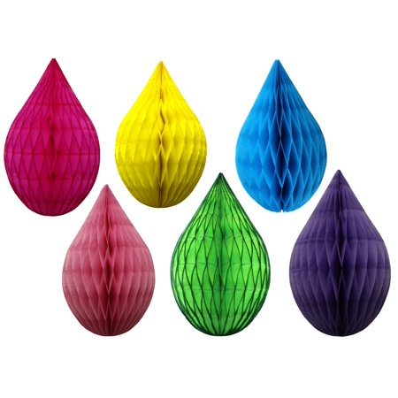 Devra Party Mini 5 Inch Rainbow Themed Drop Shaped Decorations, Set of 6 (Yellow, Lime, Cerise, Dusty Rose, Turquoise,