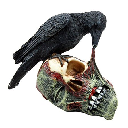 Atlantic Collectibles T Virus Infected Raven Crow Feeding on Zombie Flesh Decorative Figurine 4.25