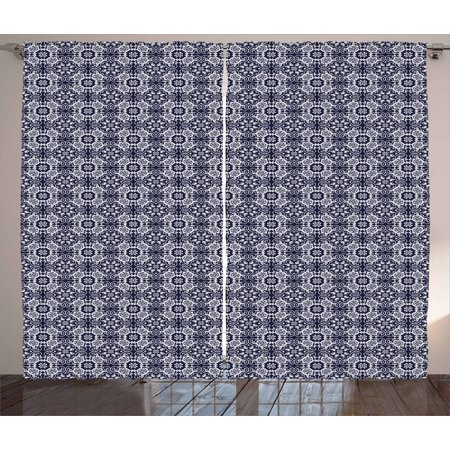 Navy Blue Curtains 2 Panels Set, Japanese Inspired Curves Lace Arrangement Antique Asian Floral Composition, Window Drapes for Living Room Bedroom, 108W X 108L Inches, Navy Blue White, by Ambesonne (Carved Antique)