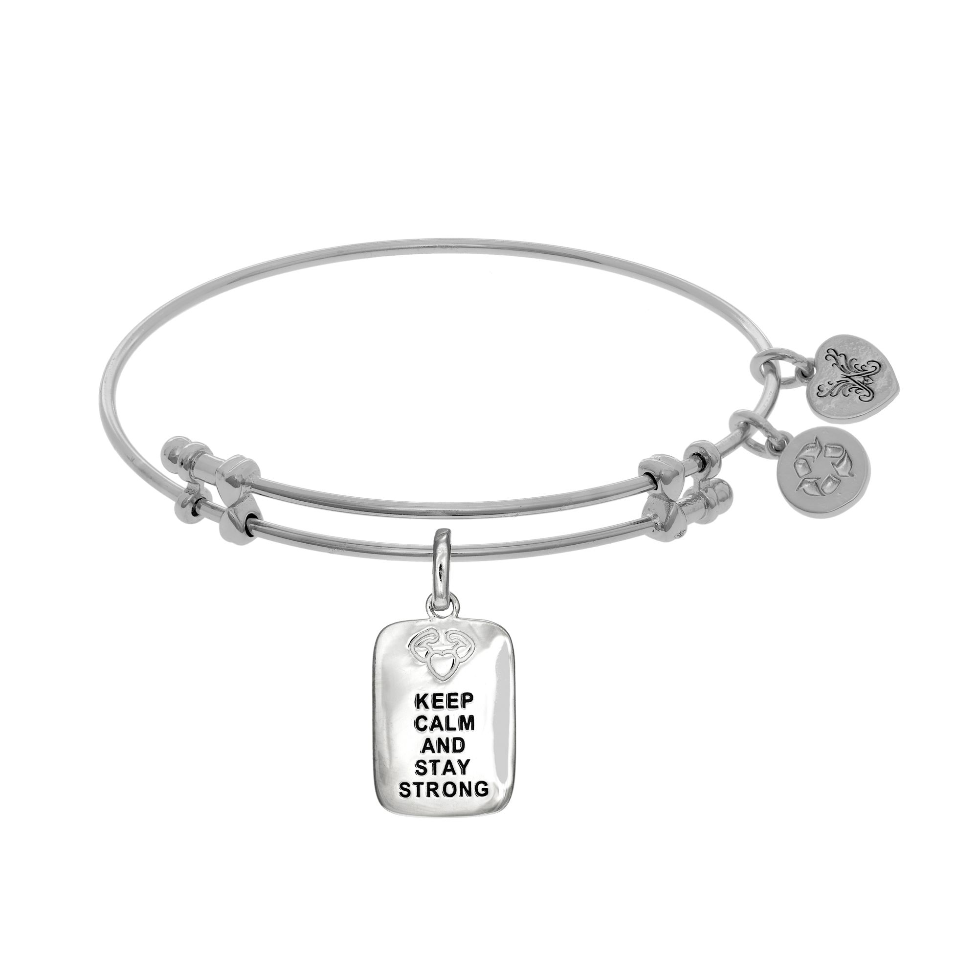 Angelica Angelica White Rhodium Over Brass Keep Calm Stay Strong