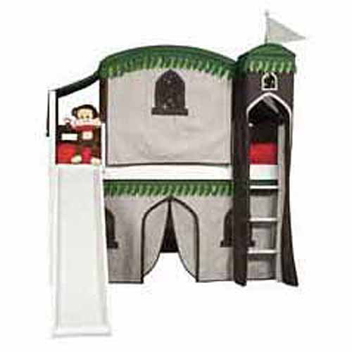 Bolton Furniture Mission Twin Loft Bed, White, Treehouse Tower, Top Tent and Bottom Curtain and Slide