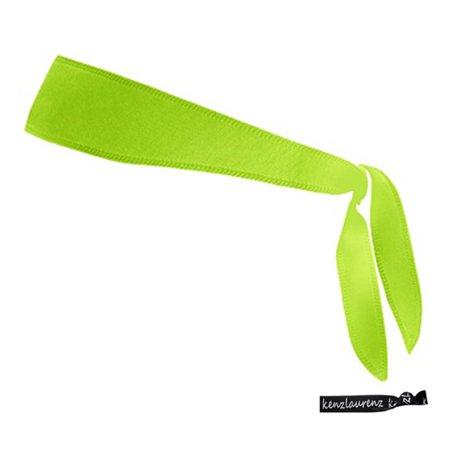 Kenz Laurenz Tie Back Headband Moisture Wicking Athletic Sports Head Band Lime