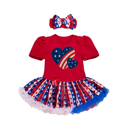 8b82d2af1 StylesILove - StylesILove Infant Toddler Baby Girl 4th of July American  Flag Holiday Short Sleeve Romper Tutu Dress and Headband 2 pcs Set Outfit -  Walmart. ...