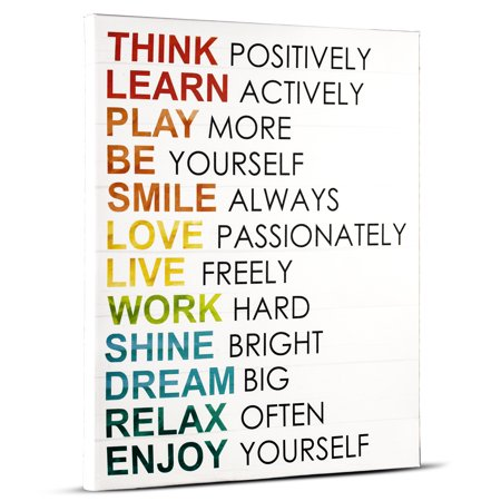 Crystal Art Think Positively Inspirational Text Canvas Wall Art ...