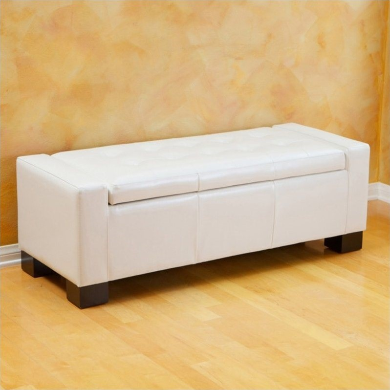 Trent Home Carino Storage Ottoman Bench in Ivory