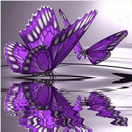outdoorline 5D Diy Crystal Diamond Painting Purple Butterfly On The Water Round Rhinestone Handcraft Cross Stitch Room Decoration - image 1 of 9