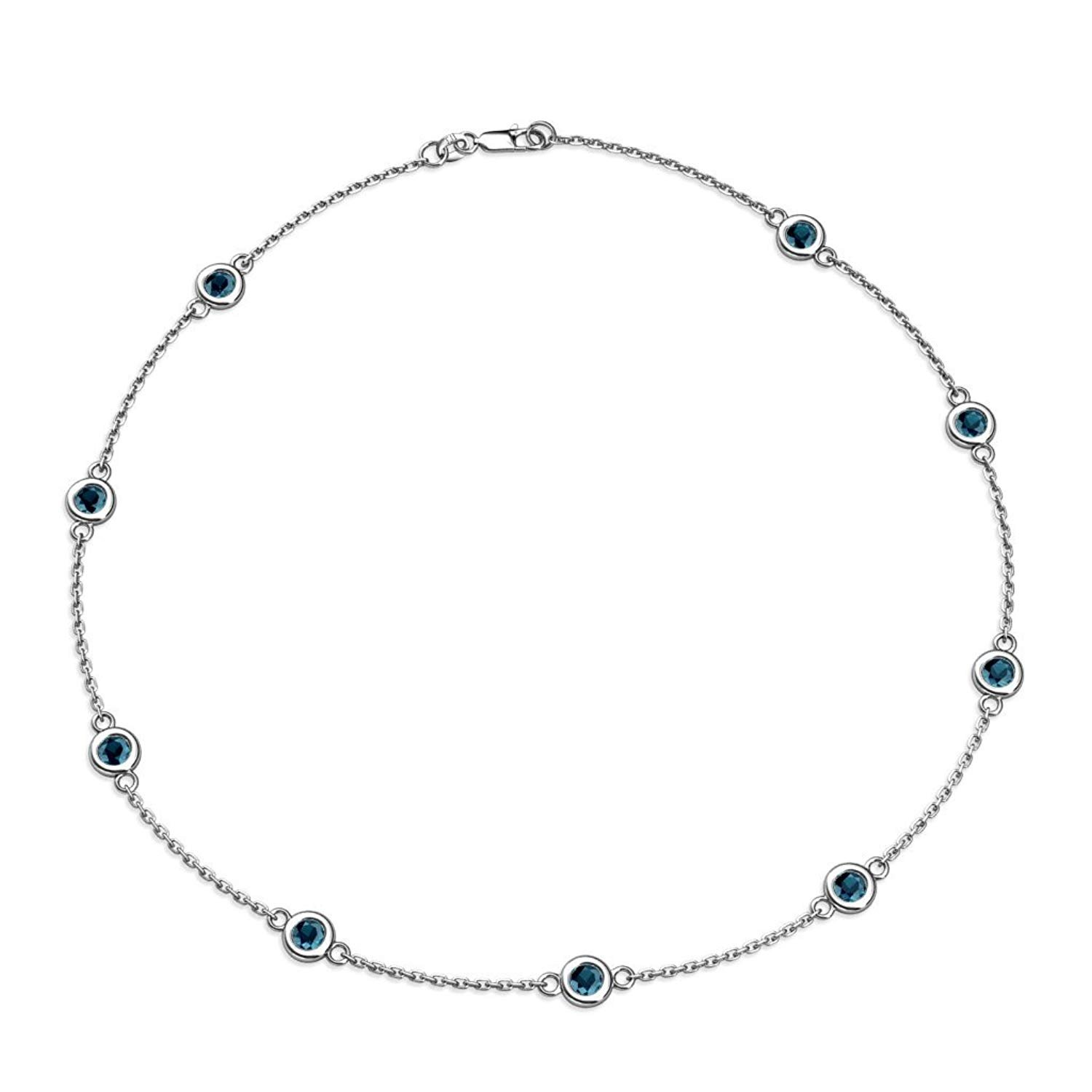 Blue Diamond 9 Station Necklace 2.25 cttw in 14K White Gold by TriJewels