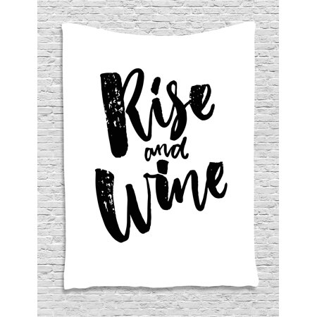 Funny Words Tapestry, Rise and Wine Brush Calligraphy Quote Humorous Saying Drink Motivation Fun, Wall Hanging for Bedroom Living Room Dorm Decor, 60W X 80L Inches, Black and White, by Ambesonne