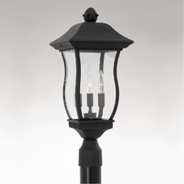 Designers Fountain Chelsea - Three Light Outdoor Post Lantern, Black Finish with Clear Beveled Glass