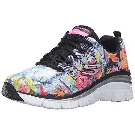 47f3e191fad5 Skechers - 12708 Black Flower Skechers Shoes Women s Memory Foam Sport Fashion  Comfort Mesh 12708BKMT - Walmart.com