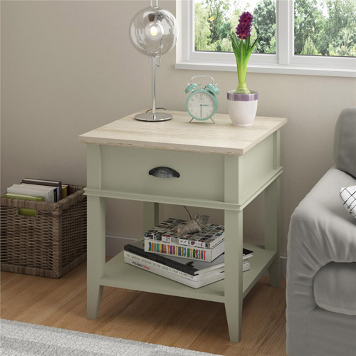 Click here to buy Ameriwood Home Newport Accent Table with Drawer, Light Sage and Brown by Ameriwood Home.