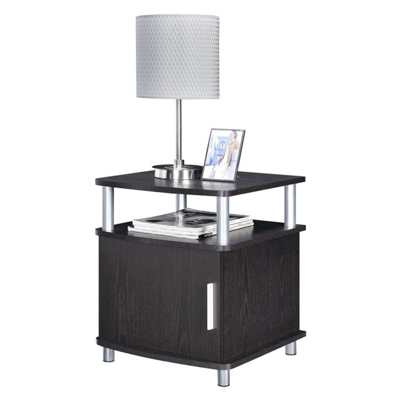 Ameriwood Home Carson End Table with Storage, Espresso Silver by Altra