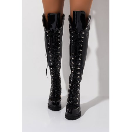 Anthony Wang Isabella Combat Patent Thigh High Lace Up Lug Sole Over Knee Boot