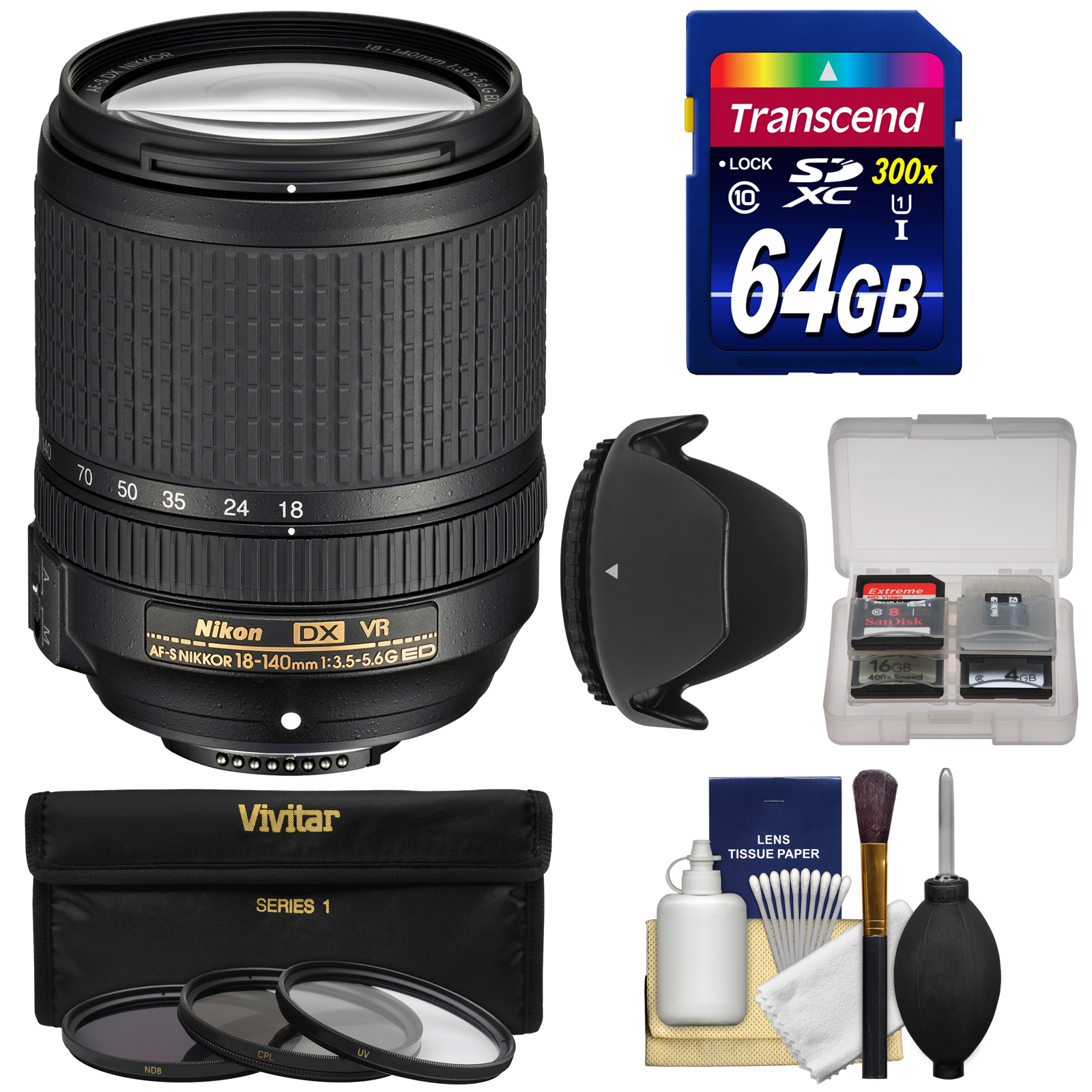 Nikon 18-140mm f/3.5-5.6G VR DX ED AF-S Nikkor-Zoom Lens with 64GB SD Card + 3 Filters + Hood Kit for D3200, D3300, D5300, D5500, D7100, D7200 Cameras