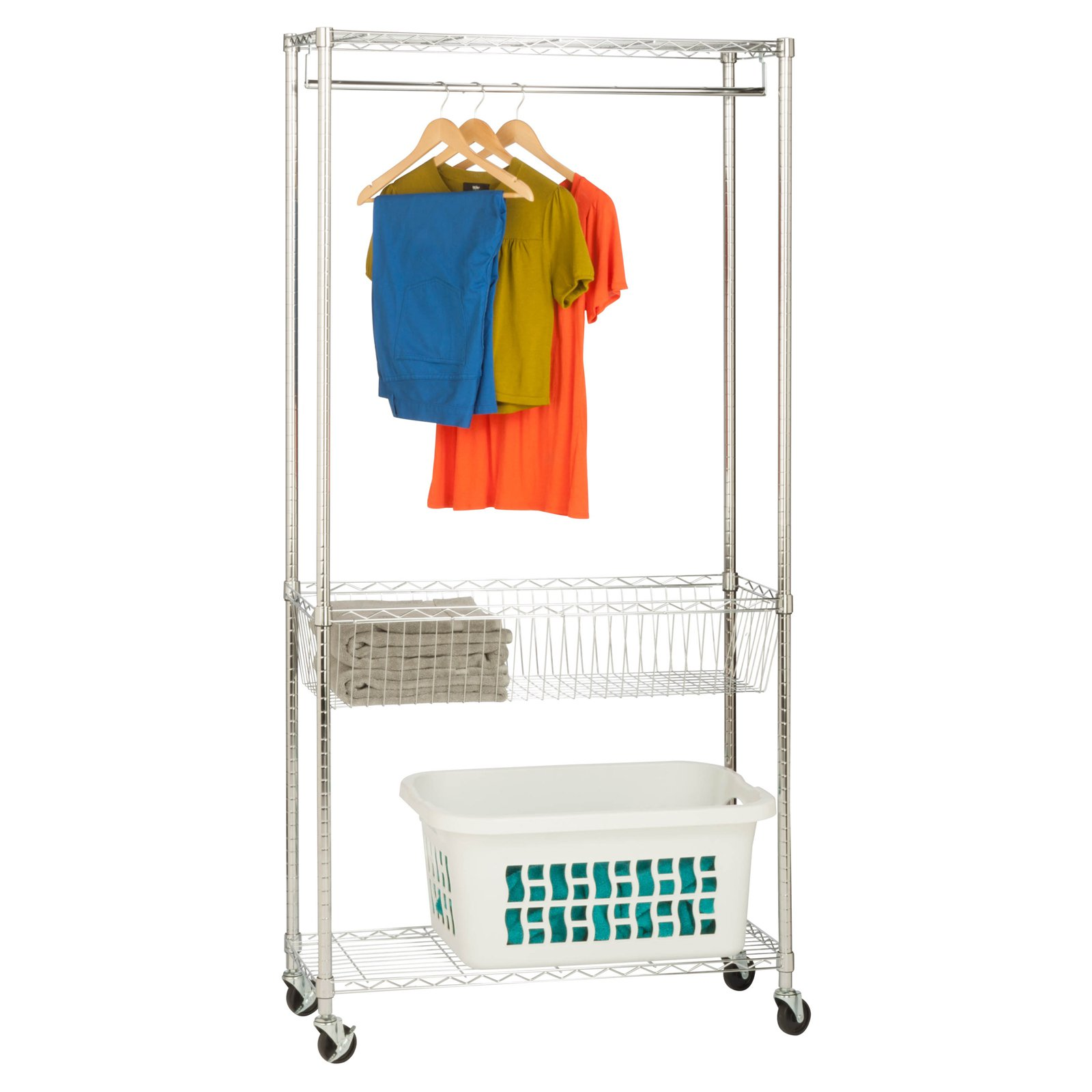 Honey Can Do Rolling Laundry Station with Hanging Bar and Basket, Chrome