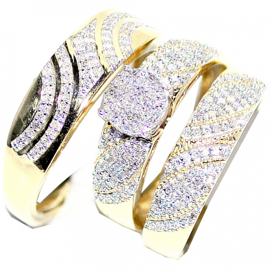 Wedding Rings Set His and Her Set 0.5cttw 10K Yellow Gold by MidwestJewellery