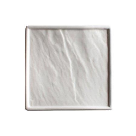 Winco WDP001-208, 14-1/8-Inch Ardesia Calacatta Porcelain Square Platter, Creamy White,