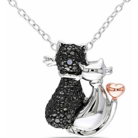 Black Diamond Accent Two-Tone Sterling Silver Cat Pendant, 18 (Black Diamond Jewelry)
