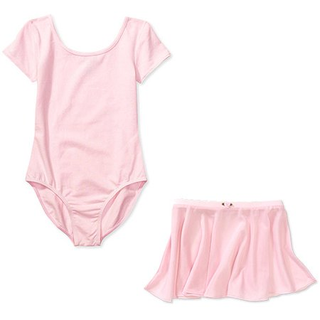 Girls' Short Sleeve Dance Leotard and Skirt 2-Piece Set - Girls Leotard