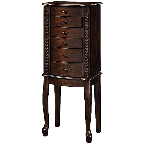 Wooden Jewelry Armoire with Lift Out Jewelry Box, Warm Walnut Finish