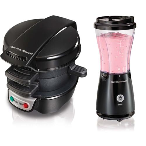 Hamilton Beach 25477 51103 Breakfast Sandwich Maker 14oz Personal Blender Bundle