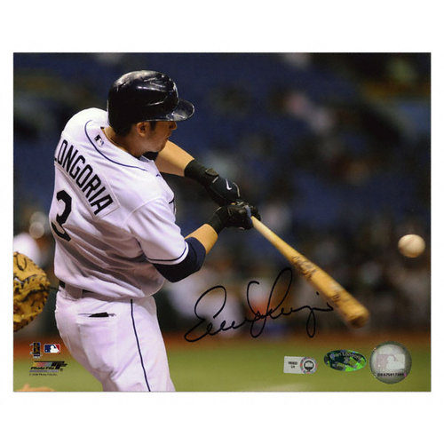 MLB - Evan Longoria Tampa Bay Rays - Hitting - Autographed 8x10 Photograph