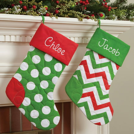 personalized quilted christmas stocking available in multiple colors - Quilted Christmas Stockings
