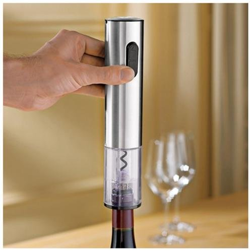 Wine Enthusiast Stainless Steel Electric Blue Push-Button Corkscrew