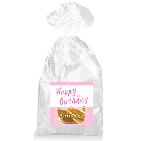Happy Birthday Golden Princess Crown  Party Favor Bags with Ties - 12pack](Birthday Party Favor Bags)
