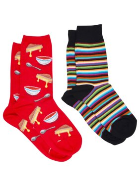 360 Threads Grilled Cheese & Stripes Novelty Socks Size 9-11 (2-PAIRS) (Women's)